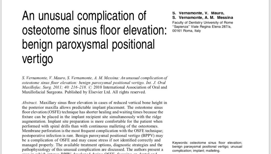 Benign paroxysmal positional vertigo after Piezosurgical removal of osseointegrated implants