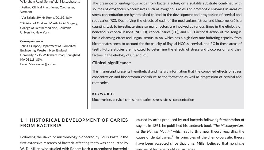 A literature review and hypothesis for the etiologies of cervical and root caries