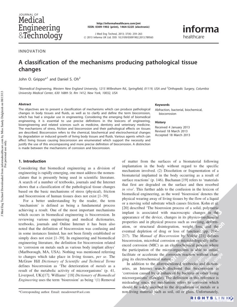 A classification of the mechanisms producing pathological tissue changes.