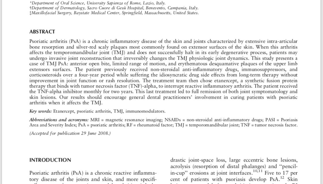 The use of etanercept as a non-surgical treatment for temporomandibular joint psoriatric arthritis: a case report